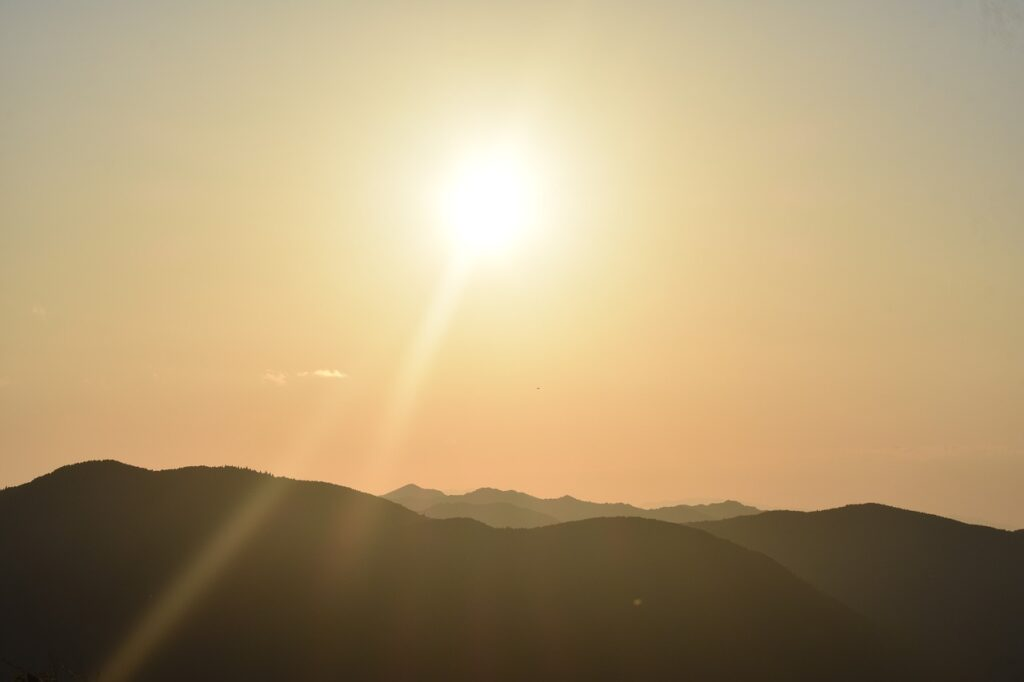 sunrise, mountains, silhouette